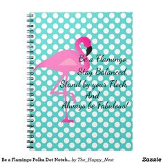 This flamingo and polka dot print spiral notebook is the perfect place to jot down all of your thoughts and will look great on your desk.