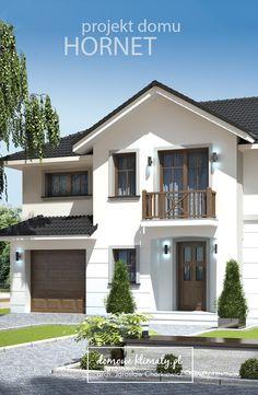"""Projekt małego domu piętrowego z garażem jednostanowiskowym """"Hornet"""". Nowoczesny i komfortowy dom piętrowy. Zaletą tego domu jest dostojny wygląd i prostota wykonania. Odpowiedni dla ludzi, którzy kochają funkcjonalność i wygodę. Na piętrze znajdują się cztery sypialnie, w tym jedna z własną łazienką i garderobą. Craftsman Style House Plans, Country House Plans, Luxury House Plans, Dream House Plans, Style At Home, Brick House Designs, Indian House Plans, Driveway Design, House Color Schemes"""