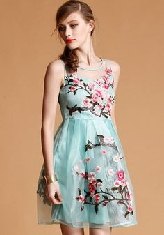 Light Blue Flowers Embroidery Grenadine Sleeveless Dress