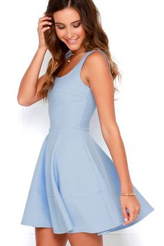 The Home Before Daylight Periwinkle Dress is the perfect party companion! Knit tank straps support a stunning bodice with a sexy square neckline and scoop back. Hoco Dresses, Dresses For Teens, Dance Dresses, Pretty Dresses, Casual Dresses, Formal Dresses, Elegant Dresses, Casual Homecoming Dresses, Sexy Dresses