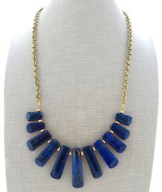 Lapis necklace, blue statement necklace, uk gemstone necklace, semi precious stone jewellery, raw stone jewelry, italian jewels
