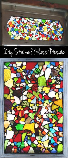 your own easy stained glass window mosaic using a picture frame! Beautiful faux stained glass windows using mosaic technique. Making Stained Glass, Faux Stained Glass, Stained Glass Lamps, Mosaic Crafts, Stained Glass Projects, Mosaic Glass, Fused Glass, Blown Glass, Glass Beads