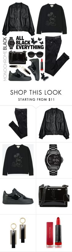 """""""Monochrome: All Black Everything"""" by shortyluv718 ❤ liked on Polyvore featuring Uniqlo, Michael Kors, NIKE, Yves Saint Laurent, Avon, Carla Zampatti, Max Factor and allblack"""