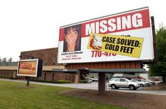 21 Famous Fakes and Hoaxes - The Runaway Bride: Here, a billboard is shown next to the road showing the changed status of Jennifer Wilbanks in Duluth, Georgia, on May 5, 2005. Wilbanks disappeared April 26 of that year, sparking a nationwide search. She eventually turned herself in to Albuquerque, New Mexico police, saying she was not kidnapped, but had cold feet regarding her wedding to fiance John Mason.