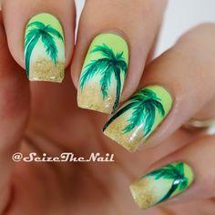 Palm Trees Nails by @seizethenail #palmtreenails #nailart