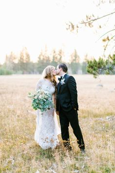 The meadow is just as perfect as the beautiful couple: http://www.stylemepretty.com/2016/08/09/lake-tahoe-mountain-meadow-wedding/ Photography: Maria Lamb - http://marialamb.co/