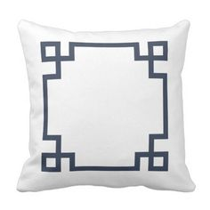 Navy Blue and White Greek Key Throw Pillow.  See even more at the photo