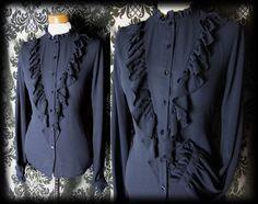 Gothic Navy Blue Frilled Bib GOVERNESS High Neck Blouse 10 12 Victorian Vintage - £29.00