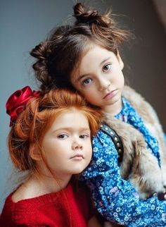 child, children, ginger, girls Redhead and brunette