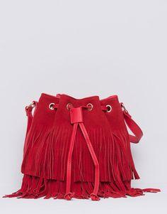 Pull&Bear - mujer - bolsos y mochilas - bombonera flecos - rojo - 09821338-I2015