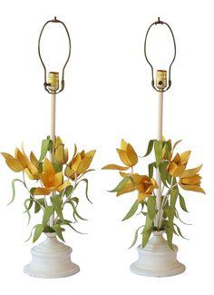 Mid-Century Italian Tole Flower Lamps - Pair