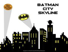Free #Superhero Printables - Superhero skyline, 4 different panels, #Batman symbol clipart, all free download.