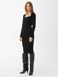 Knitted Square-Neck Dress - Black - Knitwear - ARKET GB Tonga, Bhutan, Brunei, Honduras, Georgia, Best Black, Square Necklines, Fall Sweaters, Parisian Style