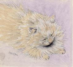 Find artworks by Louis Wain (British, 1860 - on MutualArt and find more works from galleries, museums and auction houses worldwide. Crazy Cat Lady, Crazy Cats, Louis Wain Cats, Cat Sleeping, Purple Backgrounds, Here Kitty Kitty, Cool Pets, Cat Drawing, Large Art