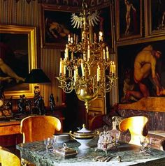 The dining room in the Paris apartment of Rudolf Nureyev