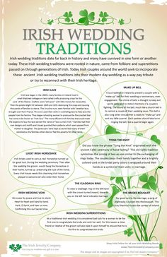Wedding irish wedding traditions info graphic - Irish wedding traditions date far back in history and many have survived in one form or another today. These Irish wedding traditions were rooted in nature came from folklore and superstitions for … Before Wedding, Wedding Day, Wedding Hacks, Dream Wedding, Wedding Quotes, Blue Wedding, Trendy Wedding, Wedding Shot, Witch Wedding