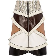 Rodarte Ruffled Leather Patchwork Skirt (157,580 PHP) via Polyvore featuring skirts, frilly skirt, beaded skirt, leather skirt, frill skirt and knee length a line skirt