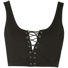 TopShop Petite Lace Up Bralet (€13) ❤ liked on Polyvore featuring tops, crop tops, shirts, tank tops, tanks, black, lace front shirt, lace up front shirt, rayon shirts and bralette crop top