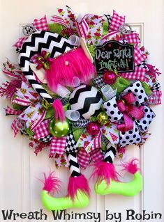 XL Deco Mesh Chevron Elf Wreath in Black, White, Pink & Green, Christmas Wreath, Holiday Wreath, Elf Decor, Modern Xmas, Whimsical Elf by WreathWhimsybyRobin on Etsy