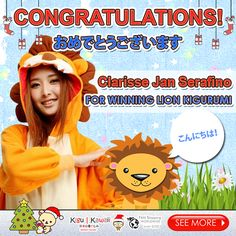 Our lucky Kigu Kawaii Kigurumi Pajamas Giveaway winner is finally here! (^O^) ♥ ♥ ♥  Congratulations to Clarisse Jan Serafino for winning your own choice of Lion Kigurumi! Please kindly message us on support@kigukawaii.com on how to claim your prize.  Our endless thank you to everyone who supported our giveaway! With so much gratitude, we would like to give everyone who participated the contest a discount code! ♥  Here's your 10% discount kigu kawaii lovers!  Coupon code: LoveKiguKawaii