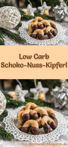 Low Carb Schoko-Nuss-Kipferl – einfaches Plätzchen-Rezept für Weihnachtskekse Low-carb Christmas biscuit recipe for Chocolate Nut Kipferl: Low-carbohydrate, low-calorie Christmas biscuits – baked without cornmeal and sugar … carb bake Healthy Cookie Recipes, Easy Cheesecake Recipes, Diet Recipes, Cake Mix Cookies, Cookies Et Biscuits, Sugar Cookies, Law Carb, Christmas Biscuits, Christmas Cookies
