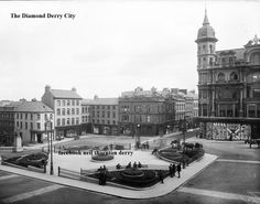 The Diamond, Derry.before the War Memorial Old Images, Old Photos, Derry Ireland, Belfast Ireland, Derry City, My Past Life, Londonderry, Northern Ireland, Places Ive Been