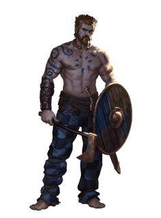 m Barbarian Shield Axe Sword celtic warrior art Fantasy Warrior, Fantasy Rpg, Medieval Fantasy, Fantasy Character Design, Character Concept, Character Art, Dnd Characters, Fantasy Characters, Fantasy Inspiration