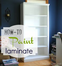 Tutorial on How-To Paint Laminate Furniture + How-To Fix Bowed Shelves by @Jenna_Burger.