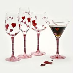 Hand Painted Wine Glass Set.Valentine's Day Drinking Glass