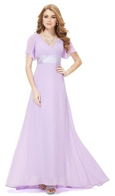 RITA Lilac Chiffon Prom Bridesmaid Evening Ballgown Maxi Dress - www.eloises-secret-closet.co.uk