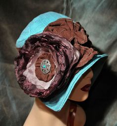 Vintage Chic Aqua Chenille Brown Tailored Cloche Flapper Hat Chemo