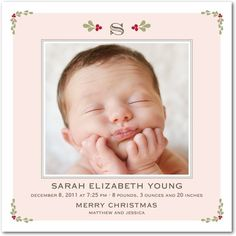 Christmas Birth Announcement - Girl