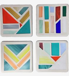 Stained-glass and cement coasters