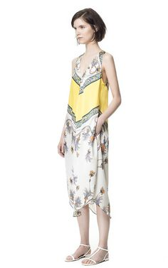 Image 1 of PRINTED DRESS WITH ASYMMETRIC HEM from Zara