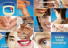 Uses for Vaseline - eyebrow growth, nail care, dry skin, lip care and much more...