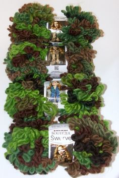 Lot of 4 Red Heart Boutique Swerve Yarn Skein Woodland Green Brown Tan  Bulky  RedHeart 27012fc34b