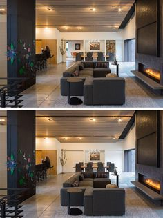 This living room shares the open interior with the dining room and the kitchen. Large sliding doors can close off the den and playroom. - May 25 2019 at Mid Century Decor, Mid Century House, Modern Barn, Mid-century Modern, Modern Homes, Modern Living, Hanging Sliding Doors, Glass Pocket Doors, Barn Door In House