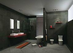 Design#5002066: Dunkle badezimmer design ideen - braune und graue farbtöne .... Badezimmer Modern Grau