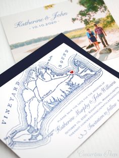 Martha's Vineyard Save the Dates from Concertina Press - with optional photo and envelope addressing - cute tiny heart on the map where you're getting married!