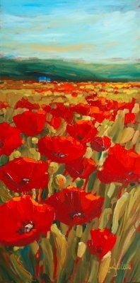 This would look amazing in an entryway. Title: Red Poppies  Medium: Acrylic on canvas