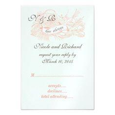 Mint Green Coral Pink Vintage Wedding RSVP Custom Announcement