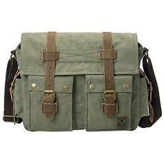 2784d26d50 Peacechaos® Men Leather Canvas Shoulder Bookbag Laptop Bag + Dslr Slr  Camera Canvas Shoulder Bag