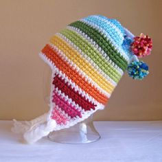 CROCHET PATTERN - Snow Day - A striped earflap hat in 8 sizes (Infant - Adult L) - Instant PDF Download