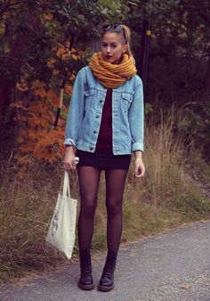 make your tight mini-skirt work for fall by wearing it with tights, a jacket, a cozy scarf, and combat boots