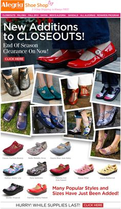 More styles just added to Closeouts! | Alegria Shoe Shop