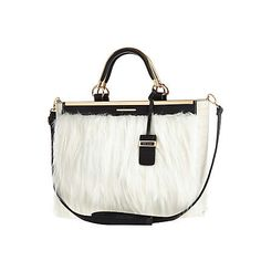 Cream faux fur tote bag $90.00