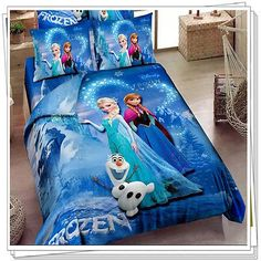 Princess Elsa Anna Frozen Cartoon Comforter Bedding Set Queen Size ...
