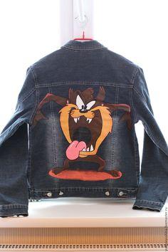 Купить Джинсовая куртка с росписью - коричневый, рисунок, джинсовая куртка, рисунок на ткани, акриловая роспись