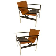 PAIR OF CHARLES POLLACK ARM CHAIRS WITH ORIGINAL LEATHER SEAT 1969