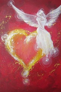 """Limited angel art poster: """"angel heart"""" modern contemporary angel painting…"""
